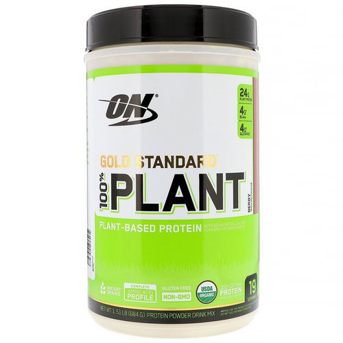 Optimum Nutrition, Gold Standard, 100% Plant-Based Protein, Berry, 1.51 lb (684 g) Review