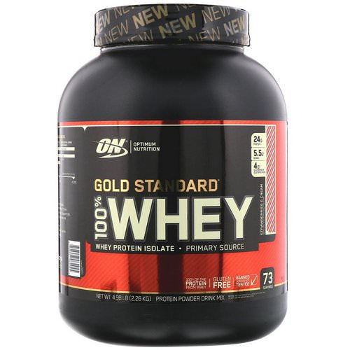 Optimum Nutrition, Gold Standard, 100% Whey, Strawberries & Cream, 4.98 lb (2.26 kg) Review