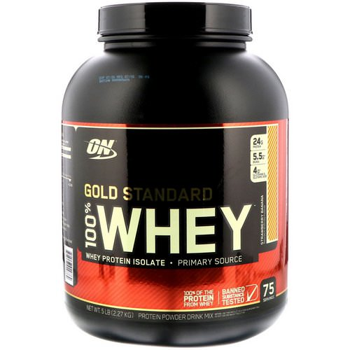 Optimum Nutrition, Gold Standard, 100% Whey, Strawberry Banana, 5 lbs (2.27 kg) Review