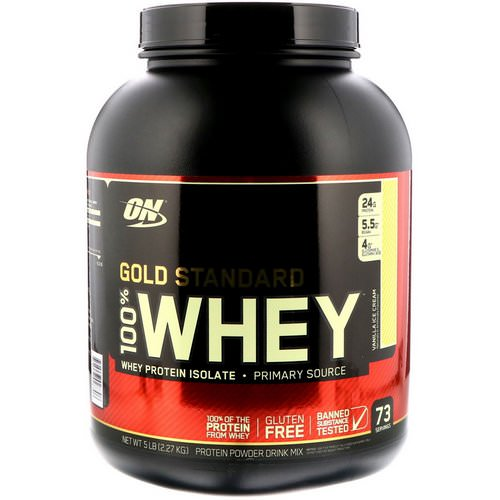 Optimum Nutrition, Gold Standard, 100% Whey, Vanilla Ice Cream, 5 lbs (2.27 kg) Review