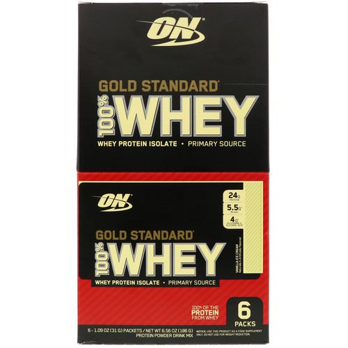 Optimum Nutrition, Gold Standard 100% Whey, Vanilla Ice Cream, 6 Packs, 1.09 oz (31 g) Each Review