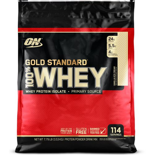 Optimum Nutrition, Gold Standard, 100% Whey, Vanilla Ice Cream, 7.79 lb (3.53 kg) Review