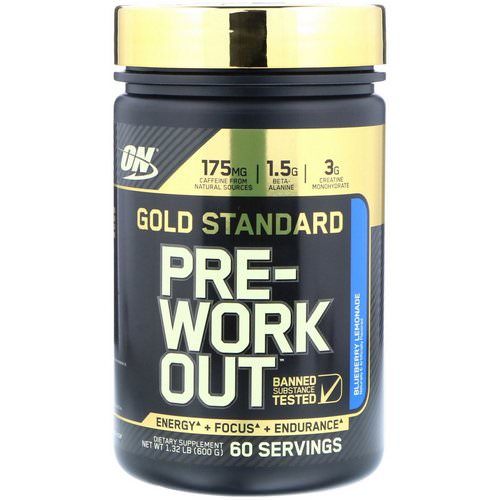 Optimum Nutrition, Gold Standard, Pre-Workout, Blueberry Lemonade, 1.32 lbs (600 g) Review