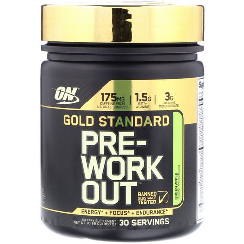 Optimum Nutrition, Gold Standard, Pre-Workout, Green Apple, 10.58 oz (300 g) Review