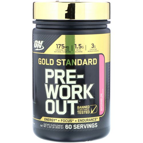 Optimum Nutrition, Gold Standard, Pre-Workout, Watermelon, 1.32 lbs (600 g) Review