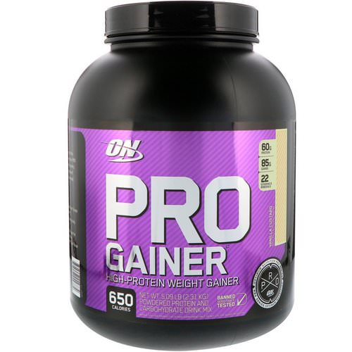 Optimum Nutrition, Pro Gainer, High-Protein Weight Gainer, Vanilla Custard, 5.09 lbs (2.31 kg) Review