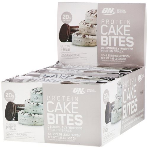 Optimum Nutrition, Protein Cake Bites, Cookies & Cream, 12 Bars, 2.22 oz (63 g) Each Review