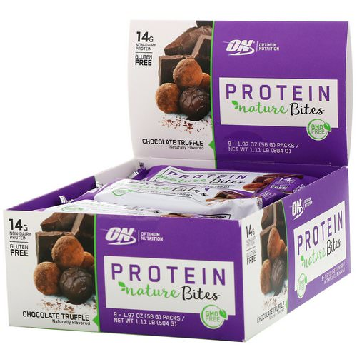 Optimum Nutrition, Protein Nature Bites, Chocolate Truffle, 9 Packs, 1.97 oz (56 g) Each Review