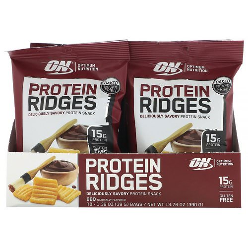 Optimum Nutrition, Protein Ridges, BBQ, 10 Bags, 1.38 oz (39 g) Each Review