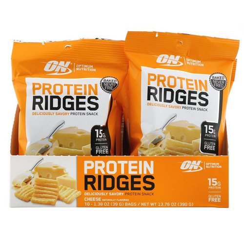 Optimum Nutrition, Protein Ridges, Cheese, 10 Bags, 1.38 oz (39 g) Each Review