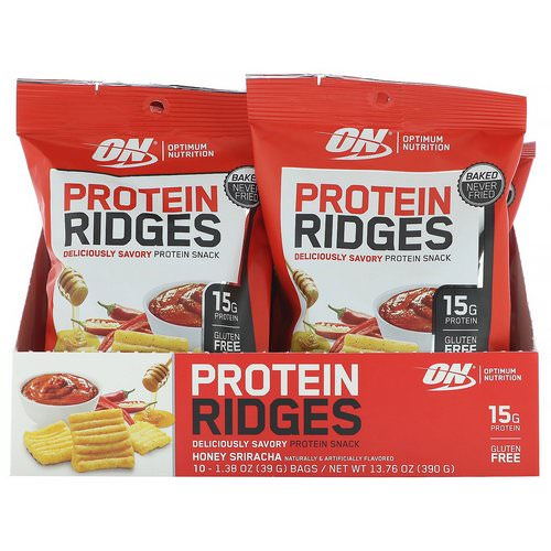 Optimum Nutrition, Protein Ridges, Honey Sriracha, 10 Bags, 1.38 oz (39 g) Each Review