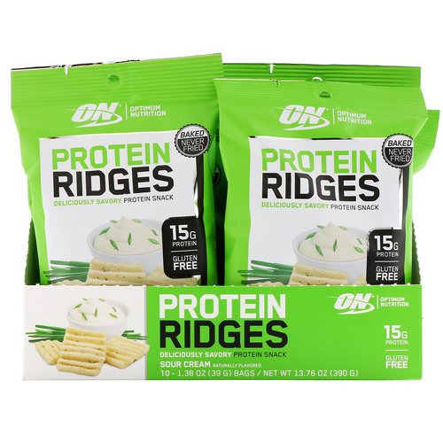 Optimum Nutrition, Protein Ridges, Sour Cream, 10 Bags, 1.38 oz (39 g) Each Review
