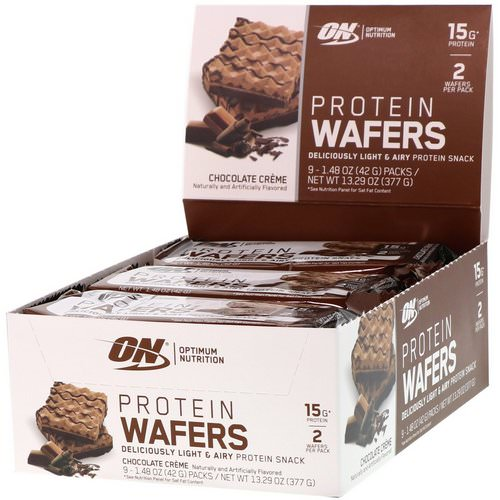 Optimum Nutrition, Protein Wafers, Chocolate Creme, 9 Packs, 1.48 oz (42 g) Each Review