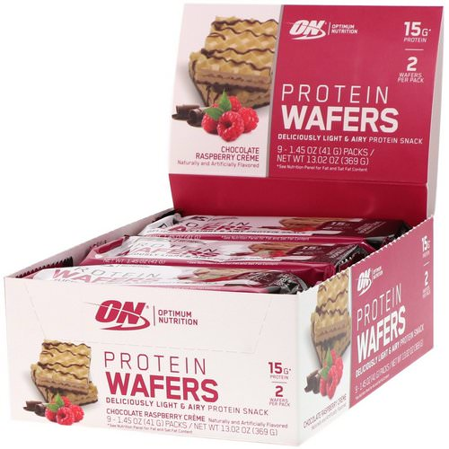 Optimum Nutrition, Protein Wafers, Chocolate Raspberry Creme, 9 Packs, 1.45 oz (41 g) Each Review
