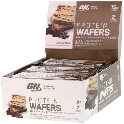 Optimum Nutrition, Protein Wafers, Mocha Creme, 9 Packs, 1.48 oz (42 g) Each Review