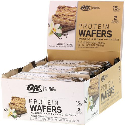 Optimum Nutrition, Protein Wafers, Vanilla Creme, 9 Packs, 1.42 oz (40 g) Each Review