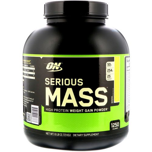 Optimum Nutrition, Serious Mass, High Protein Weight Gain Powder, Banana, 6 lbs (2.72 kg) Review
