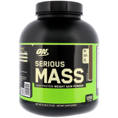 Optimum Nutrition, Serious Mass, High Protein Weight Gain Powder, Chocolate, 6 lbs (2.72 kg) Review