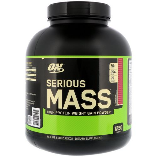 Optimum Nutrition, Serious Mass, High Protein Weight Gain Powder, Strawberry, 6 lbs (2.72 kg) Review