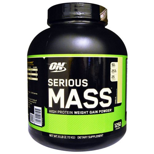 Optimum Nutrition, Serious Mass, High Protein Weight Gain Powder, Vanilla, 6 lbs (2.72 kg) Review