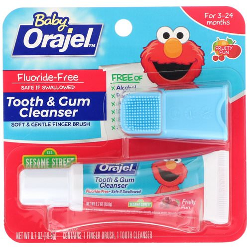 Orajel, Elmo Tooth & Gum Cleanser, 3-24 Months, Fluoride-Free, Fruity Fun, 0.7 oz (19.8 g) Review