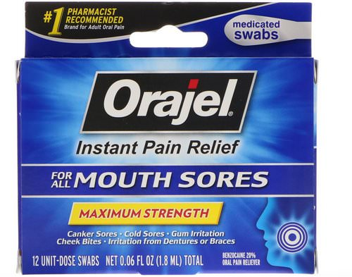 Orajel, Instant Pain Relief for All Mouth Sores, Maximum Strength, 12 Swabs, 0.06 fl oz (1.8 ml) Review