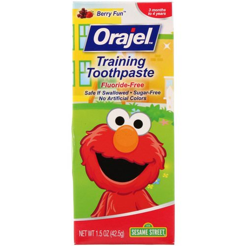 Orajel, Sesame Street Training Toothpaste, Flouride-Free, Berry Fun, 1.5 oz (42.5 g) Review
