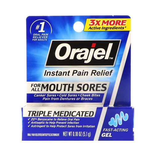 Orajel, Triple Medicated, Instant Pain Relief, For All Mouth Sores, 0.18 oz (5.1 g) Review