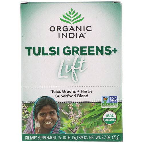 Organic India, Tulsi Greens+ Lift, Superfood Blend, 15 Packs, 0.18 oz (5 g) Each Review