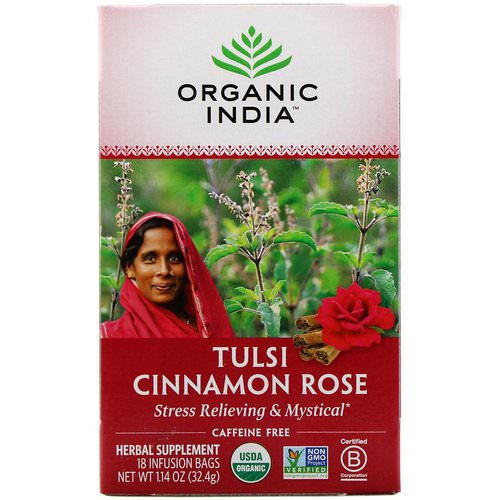 Organic India, Tulsi Tea, Cinnamon Rose, Caffeine-Free, 18 Infusion Bags, 1.14 oz (32.4 g) Review