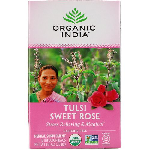 Organic India, Tulsi Tea, Sweet Rose, Caffeine Free, 18 Infusion Bags, 1.01 oz (28.8 g) Review