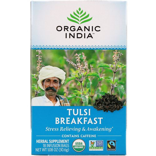 Organic India, Tulsi Tea, Breakfast, 18 Infusion Bags, 1.08 oz (30.6 g) Review