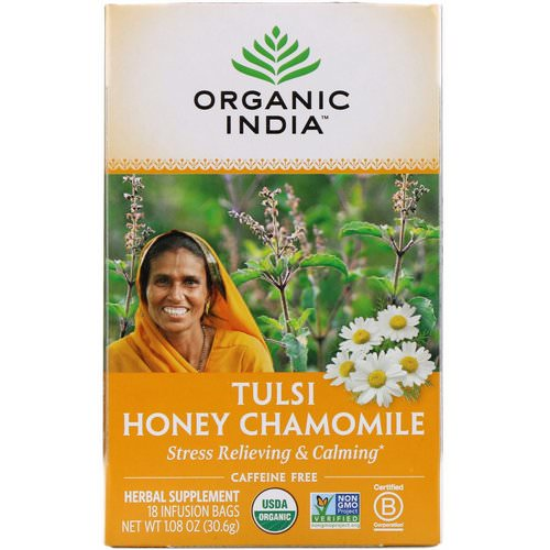 Organic India, Tulsi Tea, Honey Chamomile, Caffeine-Free, 18 Infusion Bags, 1.08 oz (30.6 g) Review