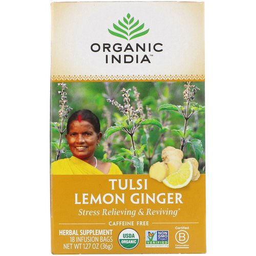 Organic India, Tulsi Tea, Lemon Ginger, Caffeine-Free, 18 Infusion Bags, 1.27 oz (36 g) Review
