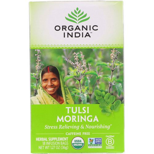 Organic India, Tulsi Tea, Moringa, Caffeine Free, 18 Infusion Bags, 1.27 oz (36 g) Review