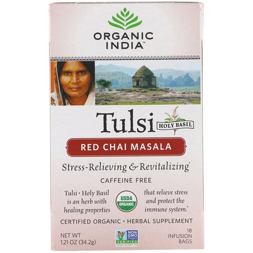 Organic India, Tulsi Tea, Red Chai Masala, Caffeine-Free, 18 Infusion Bags, 1.21 oz (34.2 g) Review
