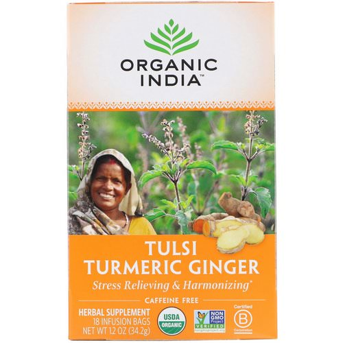 Organic India, Tulsi Tea, Turmeric Ginger, Caffeine-Free, 18 Infusion Bags, 1.2 oz (34.2 g) Review