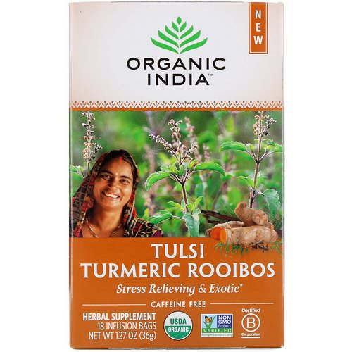 Organic India, Tulsi Tea, Turmeric Rooibos, Caffeine-Free, 18 Infusion Bags, 1.27 oz (36 g) Review