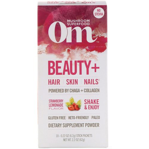 Organic Mushroom Nutrition, Beauty+, Powered by Chaga + Collagen, Strawberry Lemonade, 10 Packets, 0.22 oz (6.2 g) Each Review