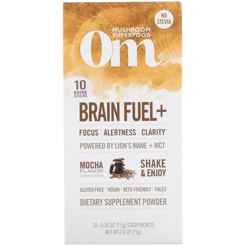 Organic Mushroom Nutrition, Brain Fuel+, Powered by Lion's Mane + MCT, Mocha, 10 Packets, 0.26 oz (7.5 g) Each Review
