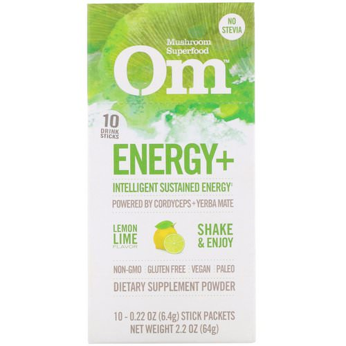 Organic Mushroom Nutrition, Energy+, Powered by Cordyceps + Yerba Mate, Lemon Lime, 10 Packets, 0.22 oz (6.4 g) Each Review