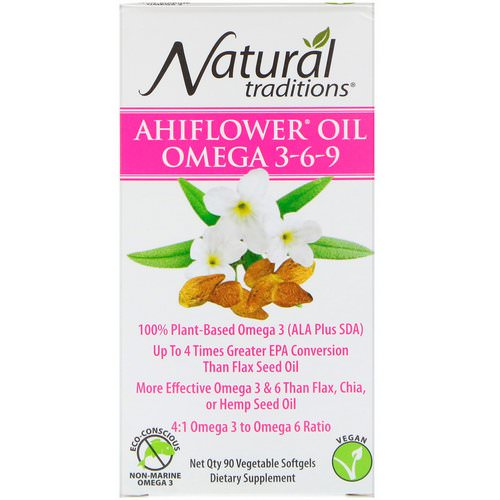 Organic Traditions, Ahiflower Oil Omega 3-6-9, 90 Vegetable Softgels Review
