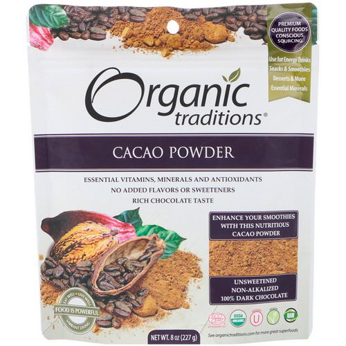 Organic Traditions, Cacao Powder, 8 oz (227 g) Review