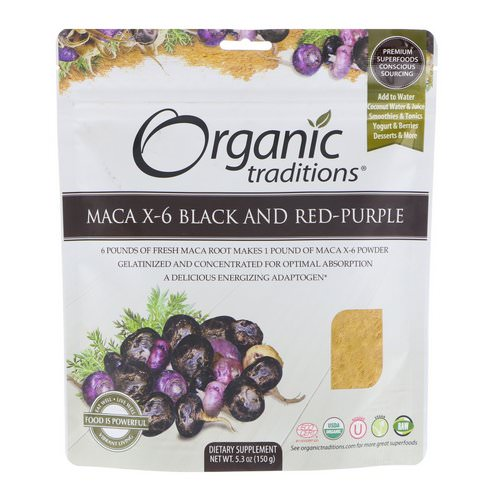 Organic Traditions, Maca X-6 Black and Red-Purple, 5.3 oz (150 g) Review