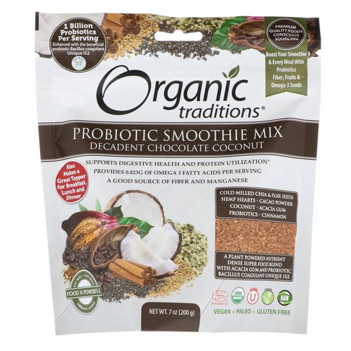Organic Traditions, Probiotic Smoothie Mix, Decadent Chocolate Coconut, 7 oz (200 g) Review