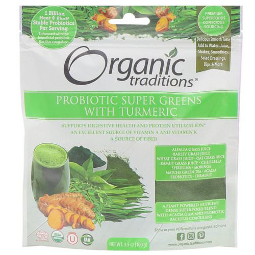Organic Traditions, Probiotic Super Greens with Turmeric, 3.5 oz (100 g) Review