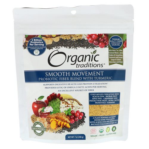 Organic Traditions, Smooth Movement, Probiotic Fiber Blend with Turmeric, 7 oz (200 g) Review