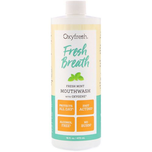 Oxyfresh, Fresh Breath, Fresh Mint Mouthwash with Oxygene, 16 fl oz (473 ml) Review