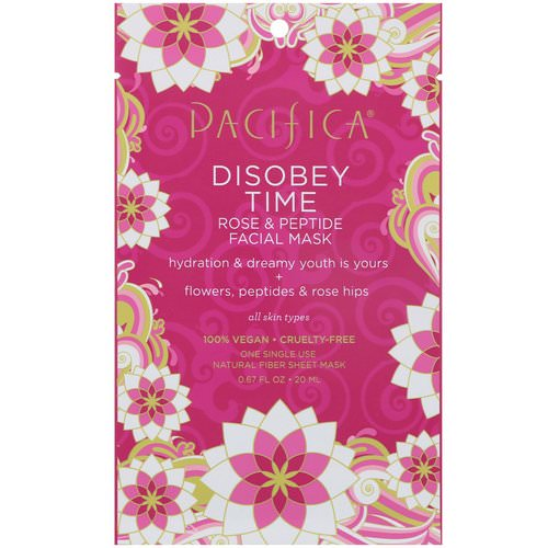 Pacifica, Disobey Time, Rose & Peptide Facial Mask, 1 Mask, 0.67 fl oz (20 ml) Review