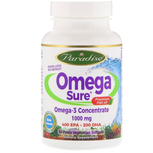 Paradise Herbs, Omega Sure, Omega-3 Concentrate, 1,000 mg, 60 Pesco Vegetarian Softgels Review